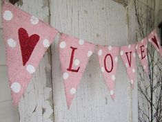 Valentines Day Heart Burlap Banner
