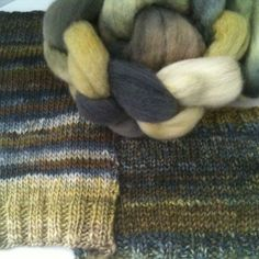 Sara's Texture Crafts - Lichen is a woodland wonder made of greens through browns and shades of shadowy blue grey The colour is a kettle dyed variegation meaning that no two