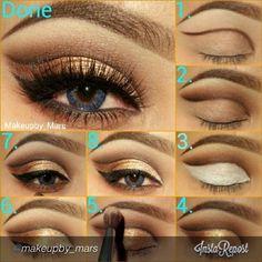 Golden and brown makeup tutorial.