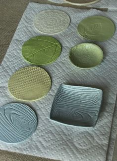 Textured air-dry clay... @Kayla Adams (these look great, so sophisticated! would be nice to do this with the mosaic project.. textures)