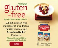 Enter your custom homemade holiday recipes here and you could win big! Enter Vegetarian Times' Gluten-Free Holiday Recipe Redo Contest, sponsored by Arrowhead Mills. Submit your original gluten-free, veg recipe by Nov. 24 for a chance to win: gfholiday.vegetariantimes.com