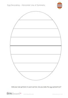 KS1  Egg decorating symmetry. Create a symmetrically decorated egg by dragging patterns onto areas of the egg template.
