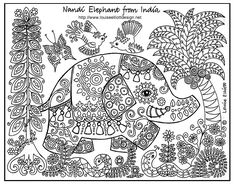 free coloring pages of animals/patterns around the world #coloringpages free print, embroidery patterns, coloring pages for big kids, animals, folk art, colouring pages, coloring sheets, coloring pages elephants, printabl