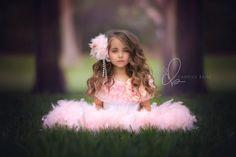 Pretty Pink Girls Ruffled Feather Dress