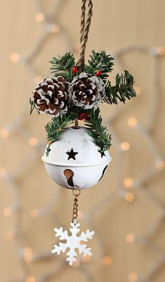 Jingle bells AND pinecones!!! two of my fave things! :) Whitewashed Tin Sleigh Bell Ornament
