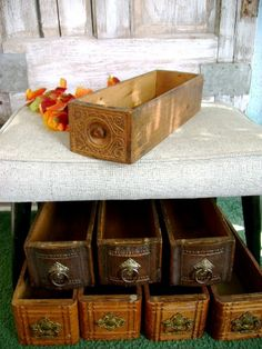 antique sewing machine drawers that you can use as planters