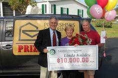 Linda Knisley and her Big Check