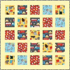 """Round the Block"" quilt pattern. Retro color story. Uses Kona Cotton and Ready, Set, Go! 2. FREE pattern from Quiltmaker's preferred partners @robertkaufman."