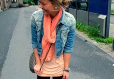 Cute cropped jean jacket with coral and peach.. such a cute combo!!!