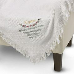 Embroidered White Heart 50th Anniversary Throw , Add a Monogram, Name or Initials