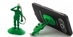 Soldier Figurine Suck on Phone or Gadget Stand /Work on All Devices With a Shiny Surface  / Key Ring by Locomocean Ltd