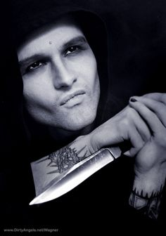 tumblr goth guy with knife