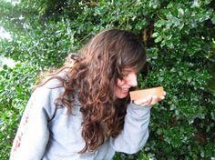 Lori smelling her favorite summer fragrance, Iced Tea Twist!