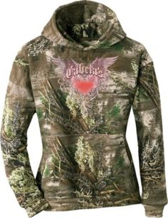 """Love this camo sweatshirt. Just the right weight to keep you cozy but not too heavy for hiking through the woods. Of course the other selling point is the cute girly sparkly pink heart!"" Customer review of the Cabela's Women's Glitter Wings Hoodie"