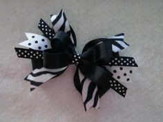 Boutique Bow in Zebra Print with Polka Dots $5.00