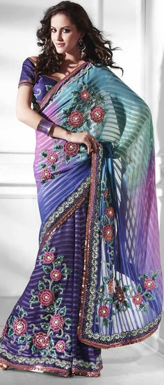 Shaded #Blue Faux Chiffon #Saree with Blouse @ $93.37