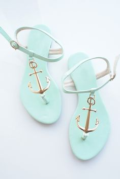 Mint and Gold Anchor Sandals