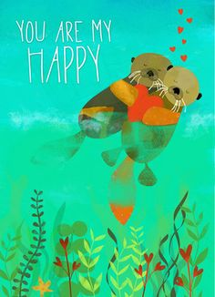 Happy Otter Love Romantic Valentine's Day Card