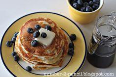 Blueberry Pancakes made with Greek yogurt!