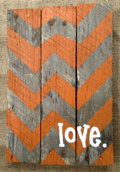 Pallet Sign Hand Painted Chevron Pattern.