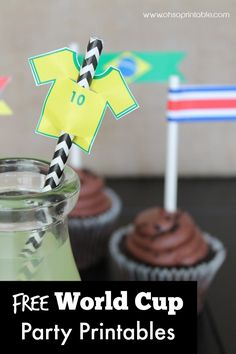 How about these free FIFA World Cup soccer printables for all your World Cup viewing parties! There are drink flags for all 32 countries! | Catch My Party.com