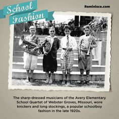 The sharp-dressed musicians of the Avery Elementary School Quartet of Webster Groves, Missouri, wore knickers and long stockings, a popular schoolboy fashion in the late 1920s.