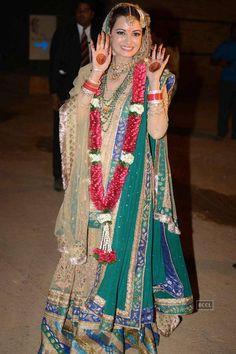 Dia Mirza at her wedding with Sahil Sangha at Rosha Farms, Ghitorni, South Delhi, Oct 18, 2014 (Wedding Joda by html www.RituKumar.com/home/ in Mughal style, w/ intricate zardozi work)