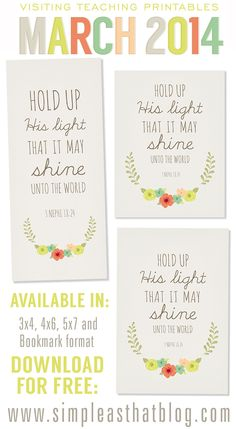 simple as that: March 2014 Visiting Teaching Printables