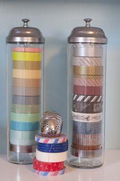 Straw dispensers for ribbon storage.