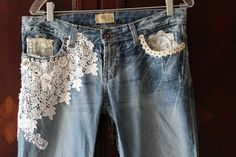 Women's Boho Jeans Antique Lace Embellished French Romantic Shabby Tattered Distressed on Etsy, $98.00 lace and jeans, jeans with lace, boho in jeans, embellished jeans, boho jeans, altered jeans, jean skirts, alter jeans, dying jeans