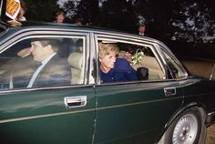 Princess Diana in a car during a visit to Peterborough, January 1991. She is wearing a Chanel suit. (Photo by Jayne Fincher/Getty Images) peopl princess, princesses, princess diana