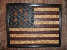 Primitive Americana Framed Flag