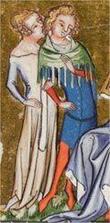 Jacques de Longuyon's Vows of the Peacock; Tournai, Belgium, ca. 1345–50 hood