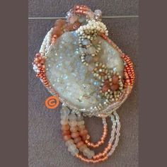 Druzy/Moonstone Freeform Peyote Pendant, Peach