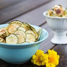 Zucchini and Yellow Squash Chips- a delicious low-calorie snack. Would be a great answer to my chips and salsa addiction