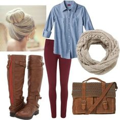 Boots, jeans and button up shirt. Cute and casual!