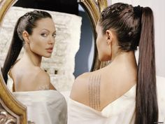 hair tattoo placements, fictional characters, angelina jolie, angelinajoli, wallpapers, a tattoo, pony tails, hair, lara croft