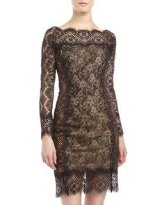 Contrast Lace Cocktail Dress, Black/Nude by Tadashi at Neiman Marcus Last Call.