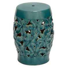 Blossom Stool decor, morning glories, side tables, garden stools, outdoor living, turquoise, colors, gardens, ceramics