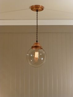 """Copper Pendant Light with Hand Blown 8"""" Smoked Glass Globe. $98.00, via Etsy. For the Kitchen!"""