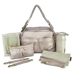 A diaper bag with a little bling. The timi & leslie Jessica 7-Piece Diaper Bag Set - Pewter