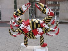 Find painted crab sculptures all around Baltimore, Maryland