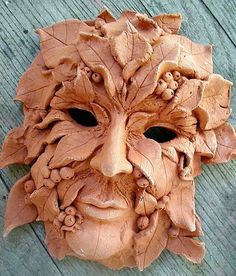 Greenman-Mask-wall-sculpture by artist Cathy  (Kate) Johnson Excelsior Springs, MO USA Watercolor artist, writer, teacher