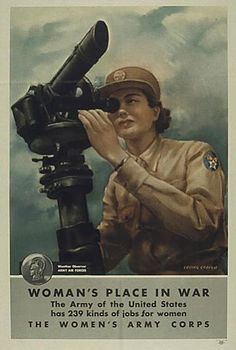 WWII recruiting poster for the US Women's Army Corps, showing an Army Air Force weather observer.