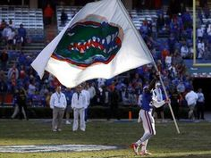 Florida senior Omarius Hines celebrates an unbeaten home record following the Gators' 23-0 win against Jacksonville State November 17, 2012 at Ben Hill Griffin Stadium.