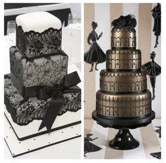 Black wedding cakes / lace wedding cake / black and gold wedding cake fashion cakes, gold weddings, cake wedding, black weddings, cake design, cake wreck, wedding cakes, black gold, unique weddings