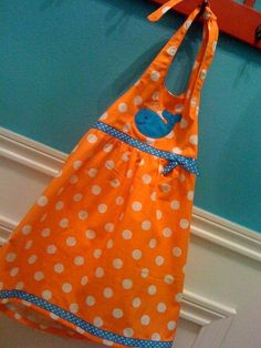 Orange polka dot halter dress with cute blue whale! Cute summer beach dress!