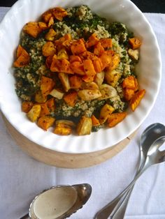 Annie's Hungry: Quinoa, Kale and Roasted Sweet Potato Bowl with Tahini Dressing
