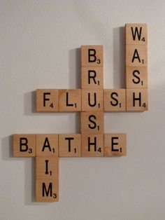 Bathroom Scrabble Wall Art by iwantthatcrafts on Etsy, $40.00