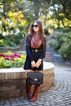 The Colors of Fall. autumn outfits, dress, fashion blogs, street styles, fashion looks, brown boots, casual outfits, fall styles, decor blogs